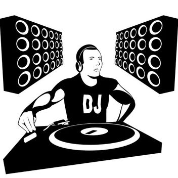 Silhouette DJ Boy with Speakers - vector gratuit #173321
