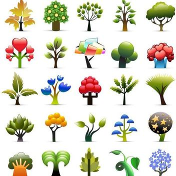 Beautiful Seasonal Tree Icon Collection - vector gratuit #173381