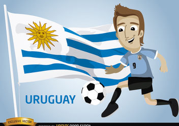 Uruguayan football player with flag - vector gratuit #173391
