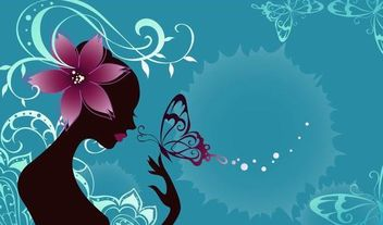 Butterfly Girl Fashion Art with Floral - vector gratuit #173411