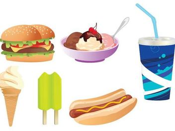 Yummy Junk Food Set - Free vector #173421