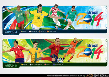 Brazil 2014 World Cup Group Headers - бесплатный vector #173461