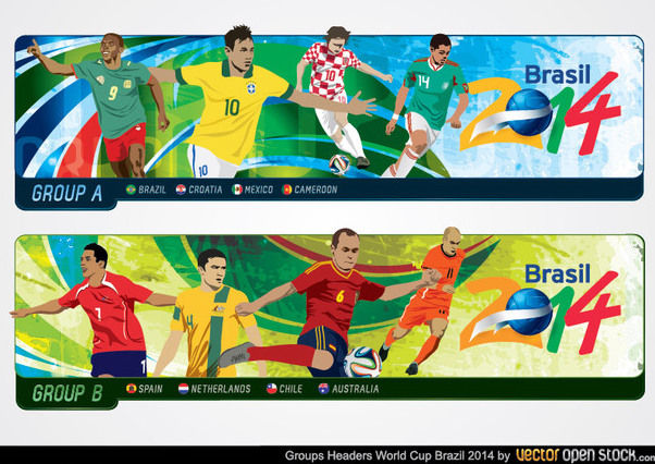 Brazil 2014 World Cup Group Headers - vector gratuit #173461