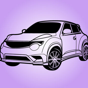 Black & White Juke Nissan Car - vector gratuit #173591