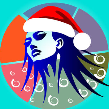 Artistic Girl Face with Santa Hat - vector gratuit #173621