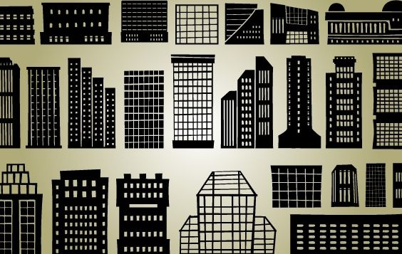 Multi Stored Silhouette Building Set - Free vector #173651