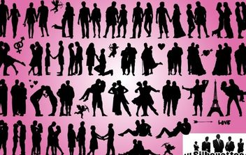 Romantic Love Couples Pack Silhouette - vector gratuit #173661