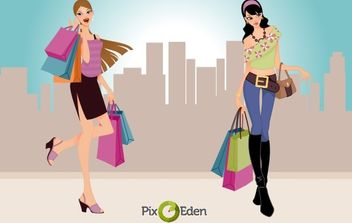 Comic Style Fashion Shopping Girls - Free vector #173721