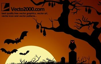 Dark Haunted Halloween Night - Free vector #173801