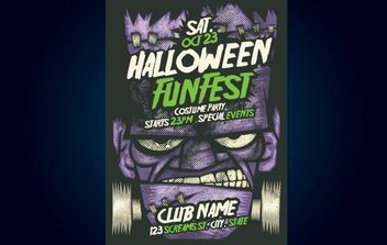 Frankenstein Halloween Flyer Template - Free vector #173811