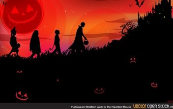 Halloween children walk to the Haunted house - vector gratuit #173831