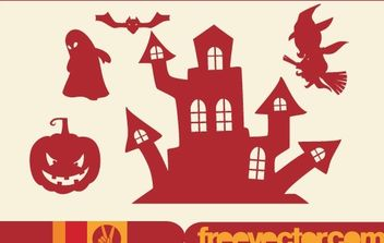 Halloween Stuffs Red Silhouette - vector gratuit #173871