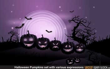 Halloween Pumpkins set with various expressions - vector gratuit #173881