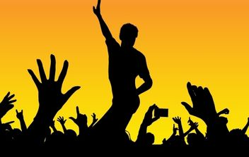 Silhouette Happy Concert Crowds - Kostenloses vector #173941