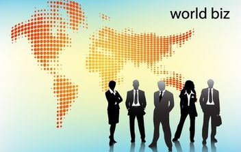 Peoples with World Map Behind - Free vector #173981