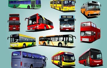 Photorealistic Bus Pack Vector - Free vector #174291
