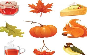 vector autumn icons set - vector #174331 gratis