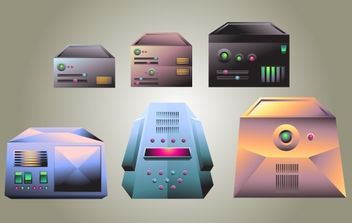 Realistic Server Vector Pack - vector gratuit #174371