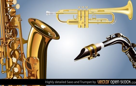 Highly detailed Saxo and Trumpet - vector gratuit #174491