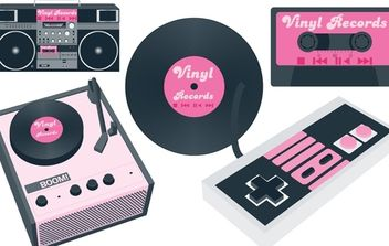 Vinyl player and Cassette Player - vector gratuit #174511