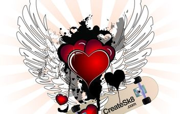 Valentine Hearts with Angel Wings - vector gratuit #174591