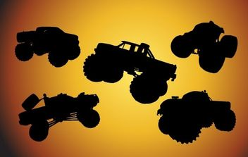 Free Bigfoot Cars Silhouettes - vector gratuit #174901
