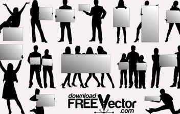 Silhouettes With Billboards - vector gratuit #175001