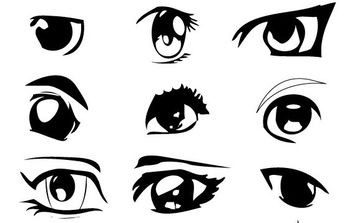Anime Eyes - vector gratuit #175311