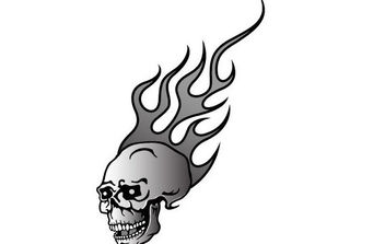 Skull On Fire Vector - vector gratuit #175581