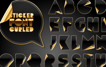 Black Letter and Number Stickers With Gold Back - vector #175671 gratis