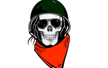 Skull In Military Helmet Vector - vector gratuit #175771