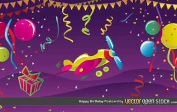 Happy Birthday Postcard - vector #175801 gratis