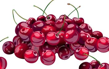 Hill of juicy fresh cherries - vector gratuit #176191