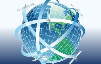Globe with satellites around - vector gratuit #176201
