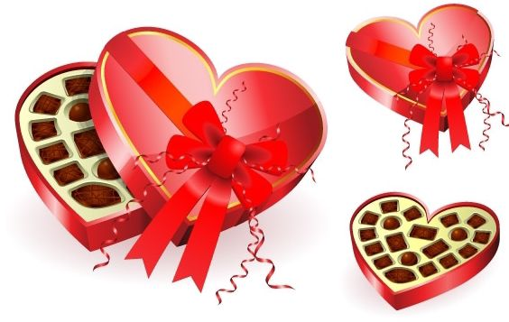 Heart shaped red chocolates box - Free vector #176381