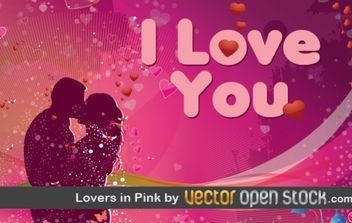Lovers in Pink - vector gratuit #176421