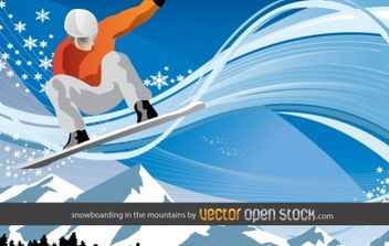 Snowboarding in the mountains - vector gratuit #176501