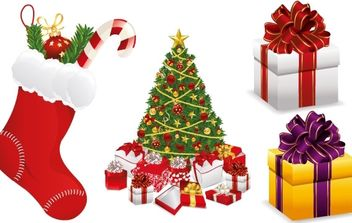 Merry Christmas Design Elements Vector Set - Free vector #176861