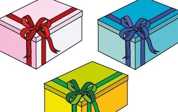 Pink, blue and green gift Boxes - Free vector #177111