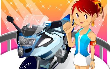 Motorcycle girl 2 - vector gratuit #177261