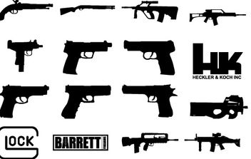 Custom Shapes: Guns Updated - vector #177861 gratis