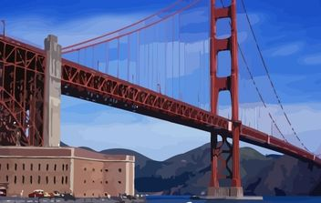 Golden Gate Bridge vector - vector #178091 gratis