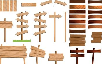 Wood Signs Vector Set - Free vector #178711