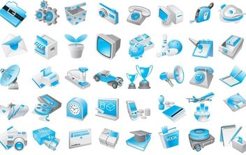 Free Vector Blue Icons - vector gratuit #178741