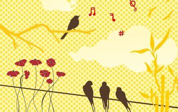 New free vector set: birds & flowers - Kostenloses vector #178771