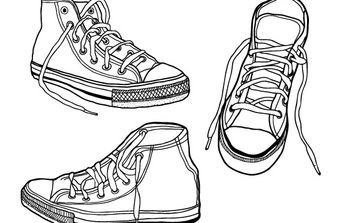 Rough, Hand Drawn Illustrated Sneakers - vector gratuit #179061