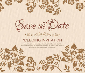 Flower branches marriage invitation - бесплатный vector #179481