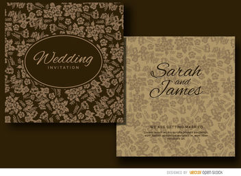 Brown floral wedding invitation - Free vector #179491