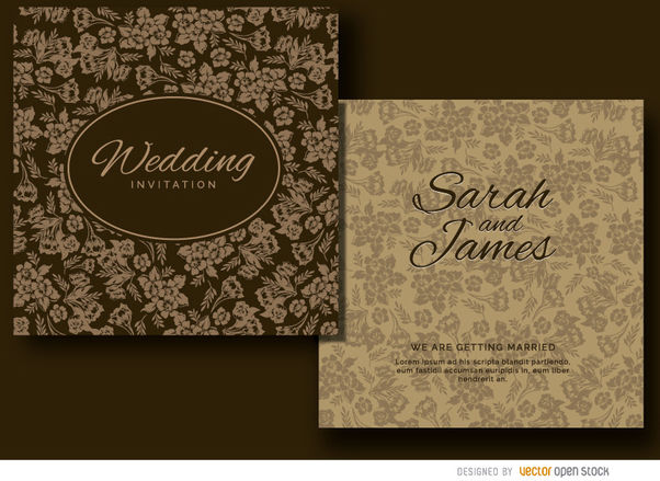 Brown floral wedding invitation - vector #179491 gratis