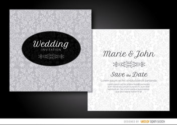 Gray floral wedding invitation - бесплатный vector #179511